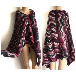 VTG 70s 80s Crochet Zig Zag Hippie Poncho M L
